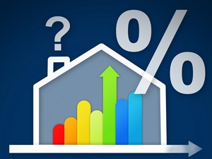 Energy efficient house graphic with percentage and question mark against a blue background